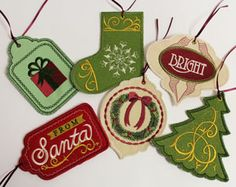 Free project instructions to make in-the-hoop gift tags. Cute in the hoop gift tags. It's actually not free. The instructions are but if you want the files you have to pay for them