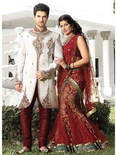 Striking Jacquard Fabric Cream Color Sherwani For Mens