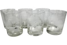 World Map Cocktail Glasses, Set of 6