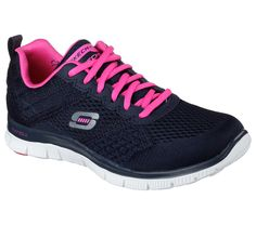 Versatile style and amazing comfort make the SKECHERS Flex Appeal - Obvious Choice shoe the perfect selection. Skech Knit Mesh and synthetic upper in a lace up athletic training sneaker with stitching and overlay accents. Choice Fashion, Girls Skechers, Casual Trainers, Training Sneakers, Fabric Shoes, Outdoor Outfit, Outdoor Gear, Navy Pink, Black Knit