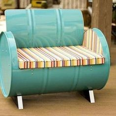 Drum Barrel Furniture The Topsail Armchair is made from a recycled and repurposed steel drum. The metal is electrostatically sprayed using environmentally friendly powder coat with low VOC finishes an Barrel Furniture, Green Furniture, Repurposed Furniture, Living Room Furniture, Home Furniture, Furniture Design, Outdoor Furniture, Antique Furniture, Furniture Ideas