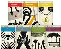 Harry Potter cover designs in the style of old Penguin books by M. S. Corley.