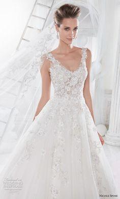 nicole spose 2018 bridal sleeveless scoop neckline heavily embellished bodice romantic a line wedding dress sheer lace back chapel train (8) zv