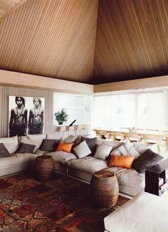 Beautiful blend of colors, textures and patterns between the ceiling, floor and furnishings.