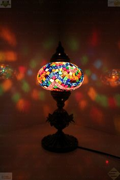 Multicolour Turkish Moroccan Mosaic Table Lamp Lampshade Hand Made Large Globe