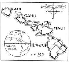 A to Z Kids Stuff | Hawaii Map Color Page