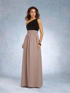 Alfred Angelo Style 7343L: Floor length bridesmaid dress with draped velvet bodice and twisted on shoulder strap