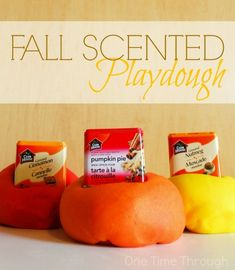 "Whip up these 3 ""Scent""-sational Fall Playdoughs for your little ones! {One Time Through} #playdough #sensory #fall"
