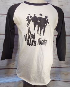 0358d084 Vintage Beatles A Hard Days Night Black & White Raglan T-Shirt Size Large.  Concert ShirtsTee ...