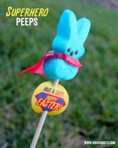 Superhero Peeps - so cute! Free #printable for #easter!