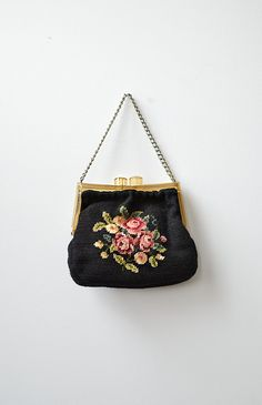vintage 1930s tapestry celluloid frame purse