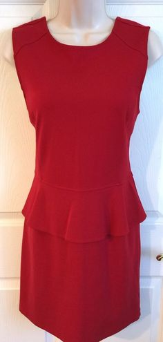 Sanctuary Medium Lipstick Red Dress Sleeveless Bodycon Peplum Anthropologie M | eBay
