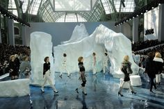 For Chanel's Fall 2012 show, designer Karl Lagerfeld brought in a 265 ton iceberg from Sweden. Best-Dressed Fashion Show Sets, Architectural Digest.