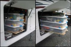 If your RV did not come with these Slide Out/Rolling Shelves in your storage, you can have them added, no matter the size of your Camper!