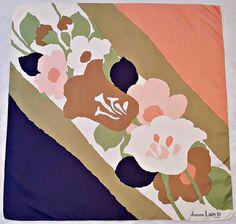 "VINTAGE JEANNE LANVIN PARIS SPRING FLOWERS BLUE PINK GREEN SILK 30"" SQUARE SCARF #JeanneLanvin #Scarf"
