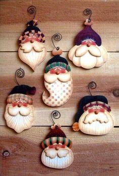 Simple Santas - inspiration only, no set Simple Santa ornaments to paint por OurPricelessTreasure Christmas Clay, Christmas Ornament Crafts, Santa Ornaments, Christmas Projects, Holiday Crafts, Christmas Decorations, Country Christmas, Christmas Holidays, Christmas Snowman