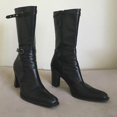 """Vic Matie Italian leather black mid-calf boots Vic Matie Italian leather black midcalf 3.5"""" heeled boots. Full size zipper and 12"""" opening at top of boot. Stylish ankle and top adjustable straps with silver studs. Pre owned in excellent condition some wear on soles. VICMATIE Shoes Heeled Boots"""