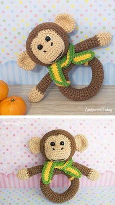 Monkey rattle pattern #amigurumi #amigurumidoll #amigurumipattern #amigurumitoy #amigurumiaddict #crochet #crocheting #crochetpattern #pattern #patternsforcrochet