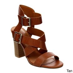 Liven up your look with these Beston Strappy Chunky Heel Sandals. Wear your love on your feet in the gladiator sandal heel. Features an criss-cross strap, caged style, open toe silhouette, , and thick