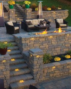 Have you just bought a new or planning to instal landscape lighting on the exsiting house? Are you looking for landscape lighting design ideas for inspiration? I have here expert landscape lighting design ideas you will love. Fire Pit Backyard, Backyard Patio, Backyard Seating, Backyard Ideas, Garden Ideas, Sloped Backyard Landscaping, Terraced Patio Ideas, Steep Hillside Landscaping, Terraced Landscaping