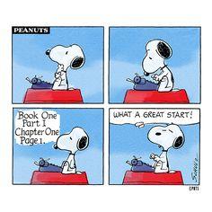 Snoopy starts a new novel.