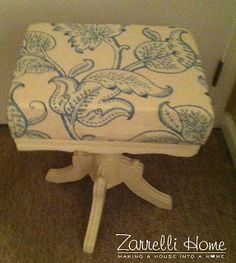Zarrelli Home Reupholstered stool painted with chalk paint (color- old white)  http://zarrellihome.blogspot.com/2013/04/new-paint-new-fabric-was-it-worth-it.html