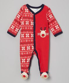 Look what I found on #zulily! Red Reindeer Footie - Infant by Vitamins Baby #zulilyfinds