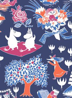 Magic Moomin Oilcloth Fabric Magic Moomin Oilcloth Fabric The Magic Moomin (Finnish: Taikamuumi) oilcloth contains a touch of magic. The Moomin characters are e Scandinavian Fabric, Tove Jansson, Play Table, Cleaning Wipes, Snoopy, Magic, Cartoon, Oilcloth, Cute