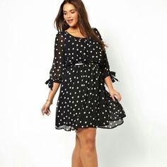 NWOT Polka Dot Dress New Look Inspire Black & White Dot Print Dress. Fully Lined. Never Worn. UK24/US20 ASOS Dresses