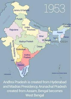 History of Formation of Indian States - From 1947 to till date. These maps will tell you the exact pattern in which Indian States came into existence. India just after the . India World Map, India Map, India Travel, Historical Maps, Historical Pictures, 1947 India, India Live, Kitty Party Games, Geography Map