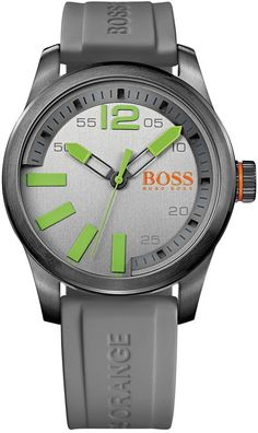 Hugo Boss Men's Boss Orange Paris Gray Silicone Strap Watch 44mm 1513049, The addition of sporty color makes this Boss Orange watch from Hugo Boss a trendy choice. From the Paris collection.