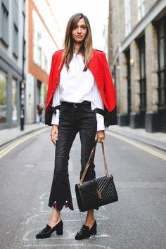 Afrah Sheikh wears Ralph Lauren jacket, Storets trousers and jumper, Yves Saint Laurent bag, Kurt Geiger shoes.