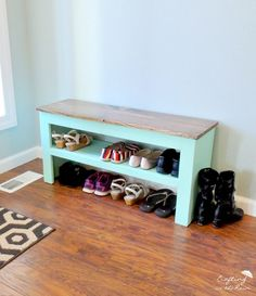 Entryway shoe Bench DIY, paint and stained wood. Shoe Storage Diy, Entryway Shoe Storage, Small Bedroom Storage, Diy Shoe Rack, Bench With Shoe Storage, Storage Ideas, Diy Shoe Shelf, Diy Shoe Organizer, Outdoor Shoe Storage