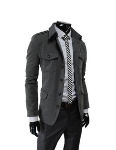 (DJK7-CHARCOAL) Mens Single Breasted Slim Fit Stretchy Jacket