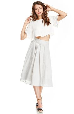 Love this skirt ~~JOA A-Line Striped Skirt in Blue XS - L   DAILYLOOK