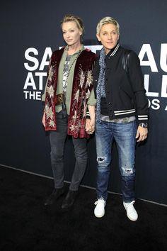 Portia de Rossi en Ellen DeGeneres - Front row at Saint Laurent : de 20 beste looks van rockers en modellen 🌟🌟