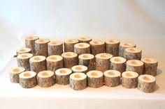 Rustic Wedding Pine Log Tealight Candle Holders - set of 30 holders Woodsy Wedding, Cute Wedding Ideas, Perfect Wedding, Our Wedding, Wedding Country, Wedding Stuff, Alaska Wedding, Dream Wedding, Rustic Weddings