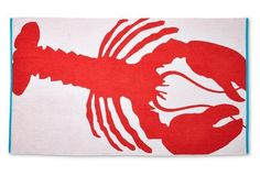 Lobster Beach Towel, Cayenne/Turquoise