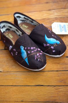 Custom TOMS Shoes - Blue Birds and Blossoms