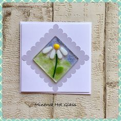 Fused Glass Greeting Card, Handmade, White Daisy Flower, Floral Gifts, Hand crafted by Minerva Hot Glass Glass Wall Art, Fused Glass Art, Stained Glass Ornaments, Greeting Cards Handmade, Floral, Devon, Hot, Gifts, Daisy