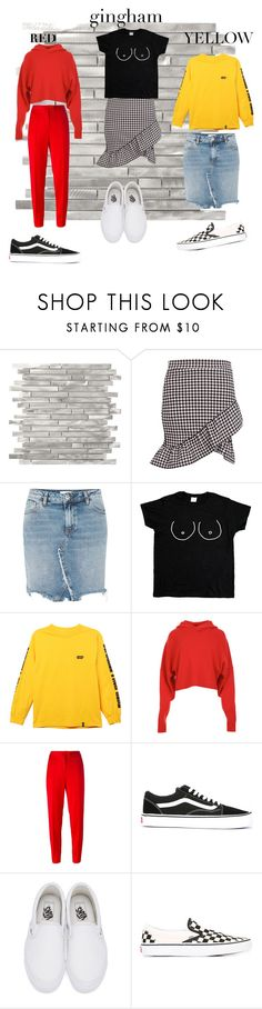 """""""everyday styles"""" by bolettebb ❤ liked on Polyvore featuring Boohoo, River Island, HUF, TIBI, Boutique Moschino, Vans, yellow, red and gingham"""