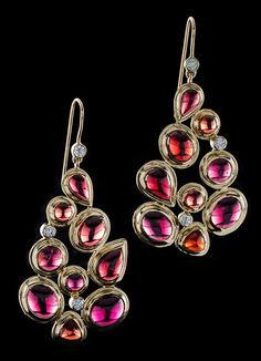 Garnet & diamond earrings. 18K yellow gold nine stone melange setting with a French wire back. A Darby Scott exclusive design. Garnet & Diamond Gemstones - 18K Yellow Gold