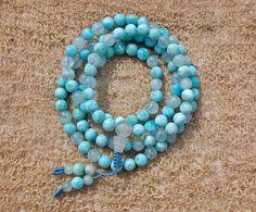 Carribean Blue. Genuine Larimar/Aquamarine Mala 108 beads 8 mm on Etsy, $299.00
