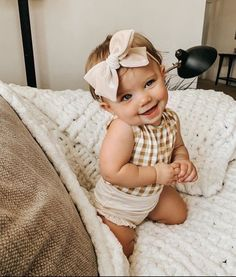 checkered top | tan colors | head band | baby girl So Cute Baby, Baby Kind, Cute Baby Clothes, Cute Kids, Cute Babies, Babies Pics, Organic Baby Clothes, Funny Babies, Wanting A Baby
