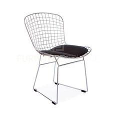 Harry Bertoia Style Wire Side Chair - Black Pad , Chair - FSWorldwide, FSWorldwide  - 2