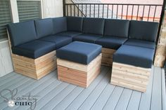 DIY Modular Outdoor Seating  What we have here is an amazing piece of furniture, that you can build at home. The DIY modular seating can be easily made from wooden boards and cushions. What's to be remembered about this is the variety of ways in which you could position the pieces. You can choose to have single chairs, ottomans, a couple sofas or a large corner piece with coffee table. Also worth mentioning, that the sizes are customizable.