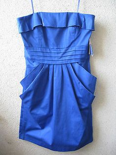 Jessica Simpson Strapless or w/straps Dress 6 Royal Blue NWT $98