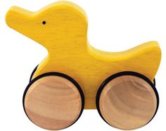 This PushAlong Duck encourages crawling and aids toddlers in balance and motor skills. Shaped from a single piece of earth friendly Rubberwood, with smoothly finished edges this whimsical toy is a delight to hold and roll. Ages 18mos+