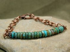 Turquoise Bracelet - Mens Bracelet - Chain Bracelet - Womans Bracelet - Mens Jewelry - Native Bracelet - Southwest Bracelet. $48.00, via Etsy.