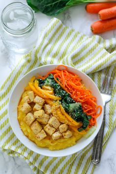Want an affordable, high protein lunch or dinner meal? Try this teriyaki baked tofu bowl served on top of an easy five-minute polenta. A year or two ago, I cooked tofu for the first time for my fiance. And to my surprise, he actually liked it! Tofu sounds foreign, but it's actually pretty mild tasting,...
